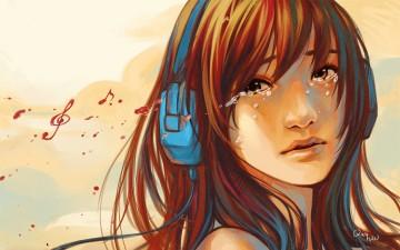 anime-girl-music-crying-headphone-art-retro-wallpaper